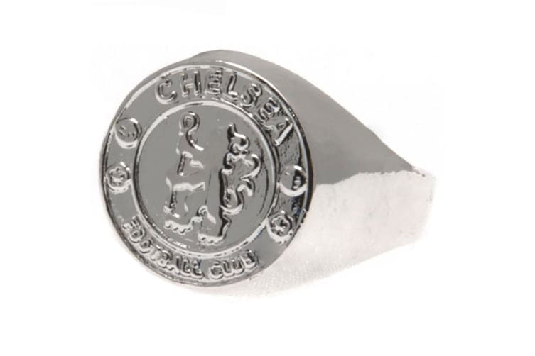 Chelsea FC Silver Plated Medium Crest Ring (Silver) (One Size)