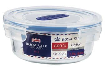 Royal Vale Glass Round Container 1.3L