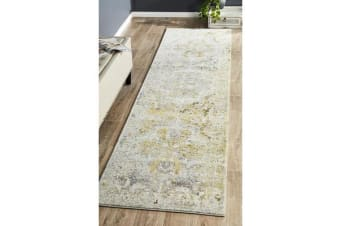 Hazel Yellow & Grey Durable Vintage Look Runner Rug