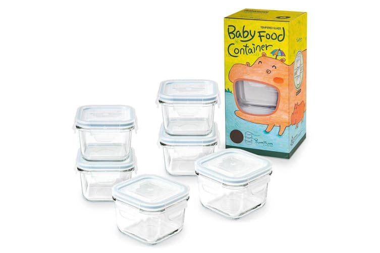 6pc Glasslock 210ml Baby Food Veggie Snacks Clear Glass Container Storage Square