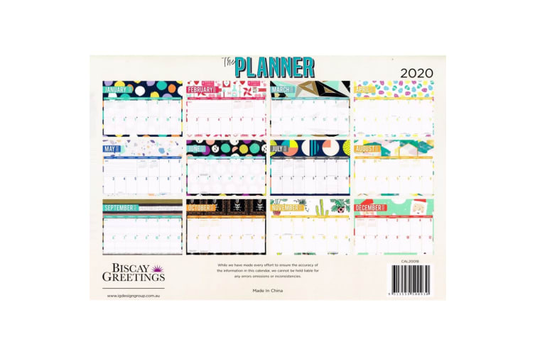 The Planner 2020 Rectangle Wall Calendar 14 Months New Year Christmas Decor Gift