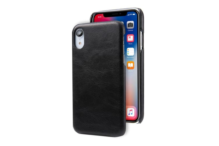 For iPhone XR Case Black Modern Genuine Leather Back Shell Cover