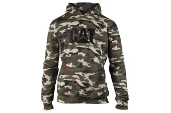 Caterpillar Mens Trademark Hooded Sweatshirt (Woodland Camo)