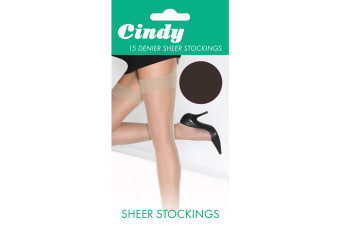 Cindy Womens/Ladies 15 Denier Sheer Stockings (1 Pair) (Barely Black)