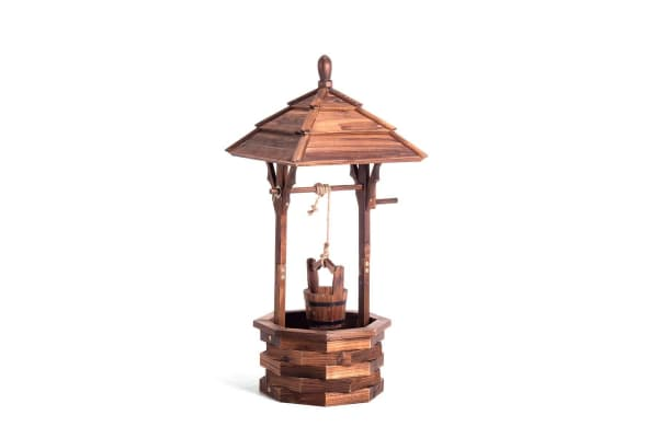 Outdoor Garden Wishing Well Wooden Timber Backyard Decor Rustic
