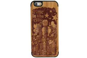 For iPhone 6S 6 Case Panic in the City Durable Modern Wooden Shielding Cover