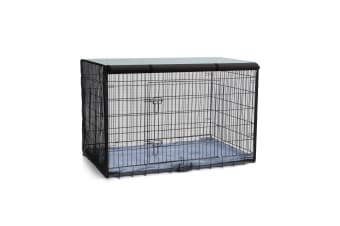 "30"" Double Door Dog Crate Metal Wire Cage Foldable Pet Cat Puppy Kennel"