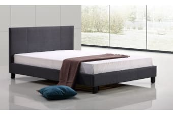 Queen Linen Fabric Bed Frame Grey