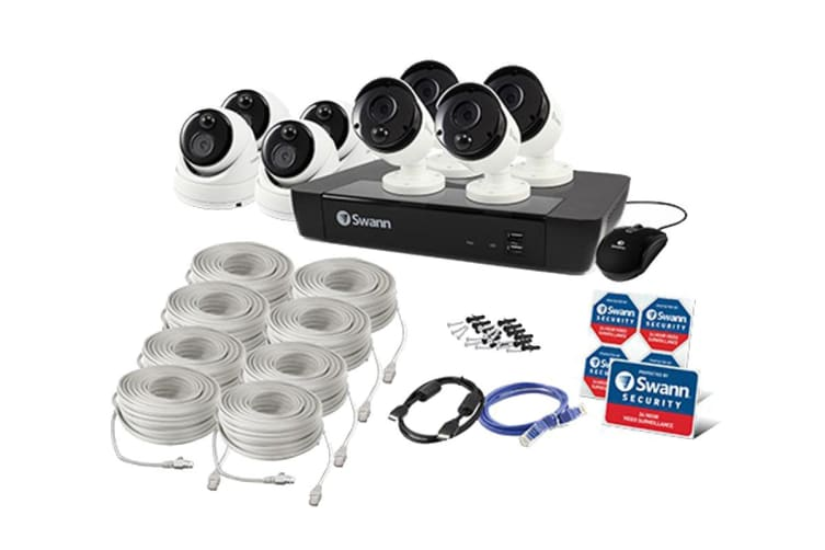 Swann 8 Channel 5MP NVR 2TB HDD Security System with  8 x Thermal Sensing IP Security Cameras (SONVK-875804B4D-AU)