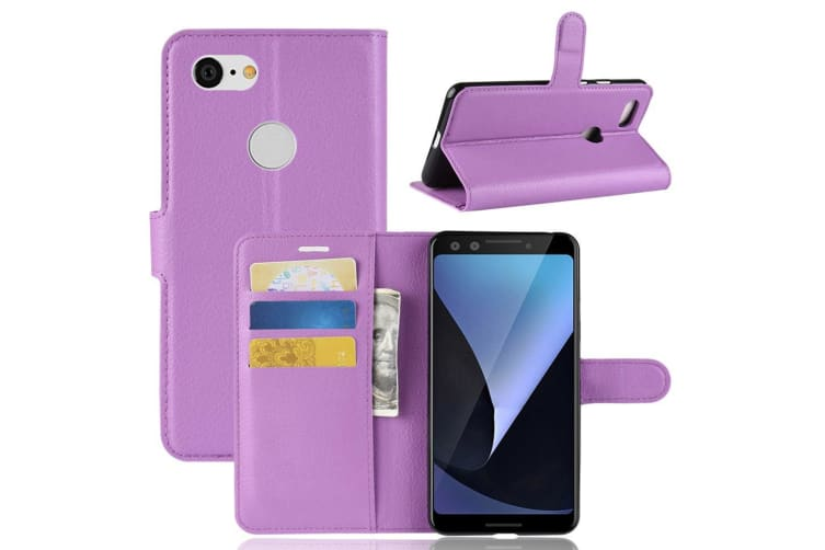 For Google Pixel 3 Leather Wallet Case Purple Lychee Texture Cover Card Slots