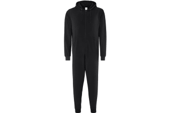 Comfy Co Adults Unisex Two Tone Contrast All-In-One Onesie (Black)