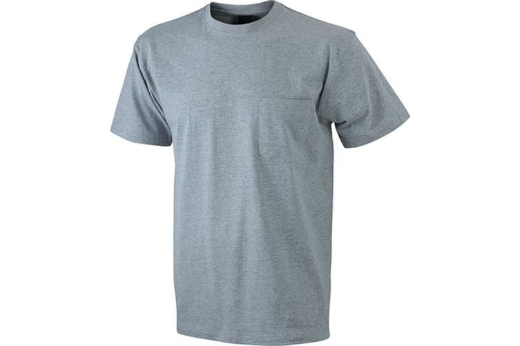 James and Nicholson Mens Round Neck Pocket Tee (Grey Heather) (S)