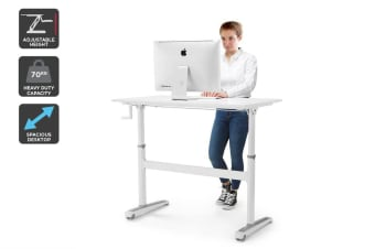Ergolux Height Adjustable Sit Stand Desk (White, 120 x 70cm)