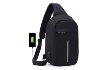 Anti-theft Sling Shoulder Bag with External USB Charge Crossbody Chest Bags Backpack for Cycling Hiking Outdoor Travel Men Women Casual Reflective Stripe Black grey
