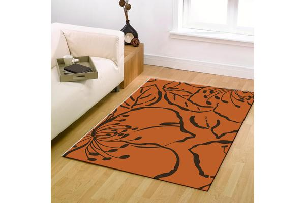 Modern Flower Outline Rug Rust 230x160cm