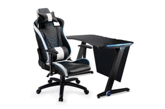 OVERDRIVE Gaming Chair Desk Racing Seat Setup PC Combo Black Office LED Lighting