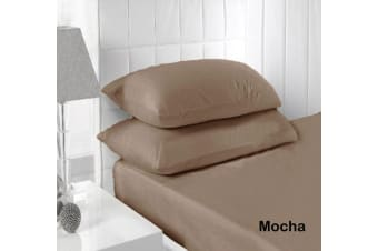 250TC Fitted Sheet Set Mocha - King