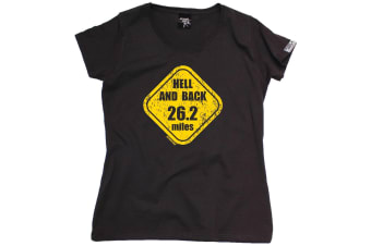 Personal Best Running Tee - Hell And 26 Miles - (Small Black Womens T Shirt)