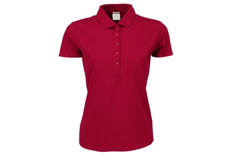 Tee Jays Womens/Ladies Luxury Stretch Short Sleeve Polo Shirt (Deep Red) (S)