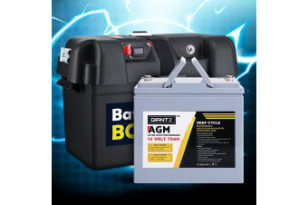 Giantz 75Ah Deep Cycle Battery & Battery Box 12V AGM Marine Sealed Power
