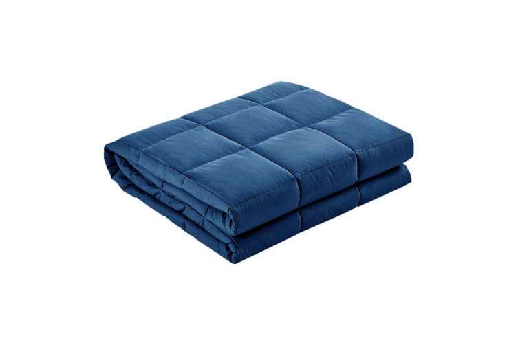 Giselle Bedding Cotton Gravity Weighted Blanket Adult 5KG Deep Relax Sleep Navy