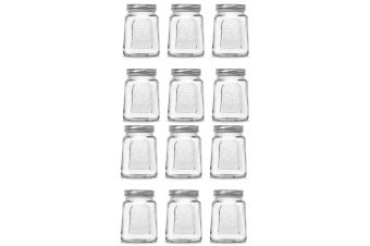 12pc Modena 475ml Square Food Jars/Canisters w/ Airtight Lids Home Storage Clear