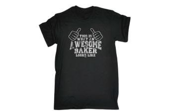 123T Funny Tee - Awesome Baker - (4X-Large Black Mens T Shirt)