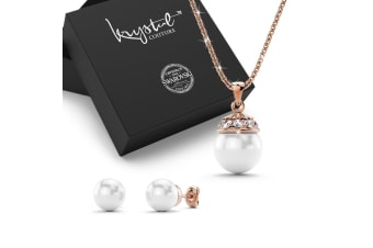Bridal Necklace & Earrings Set w/Swarovski Crystals-Rose Gold/Pearl