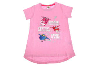 Super Wings Toddler Girls Jerome Donnie And Jett Character T-Shirt (Pink)