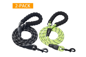 2 Pack 5 FT Heavy Duty Dog Leash with Comfortable Padded Handle Reflective Dog leashes for Medium Large Dogs