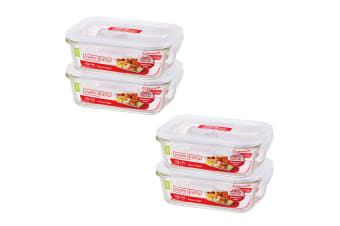 2x 2pc Lock & Lock 650ml Glass Food Meal Prep Container Lunch BPA Free Storage