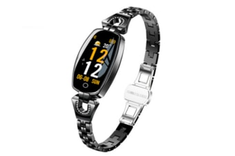 Women Fashion Bluetooth Smart Bracelet Fitness Tracker Waterproof Heart Rate Blood Pressure Smart Watch for Android iOS(BRIGHT BLACK)