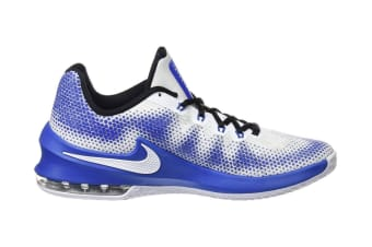 Nike Men's Air Max Infuriate Low Basketball Shoe (Blue/White, Size 10.5 US)