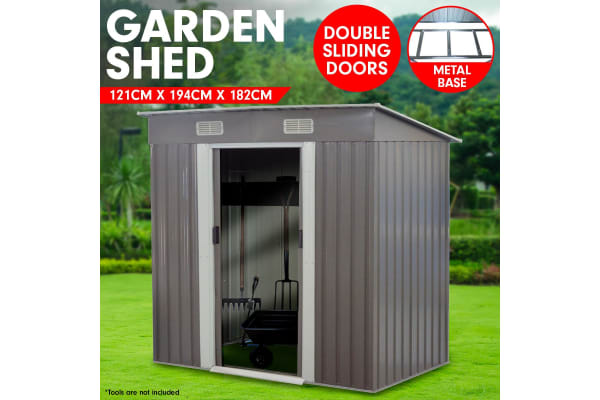 4ft x 6ft Garden Shed with Base Flat Roof Outdoor Storage - Grey