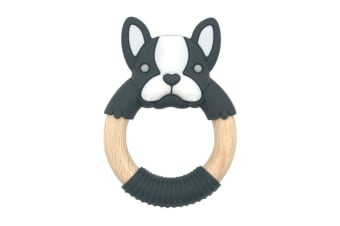 BibiBaby Teething Ring Boxer Frenchie Charcoal and White