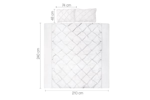 Giselle Bedding Diamond Stitch Quilt Cover Set (King/White)