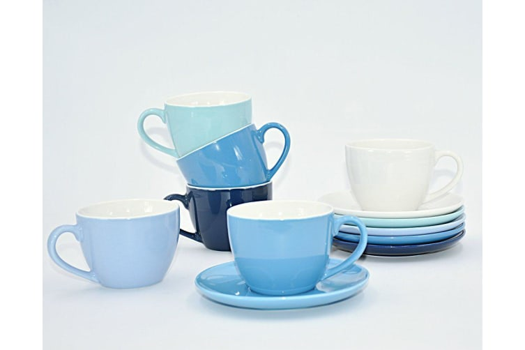 Classica Ceramic Cup & Saucer 6 Piece Set Blue 180ml
