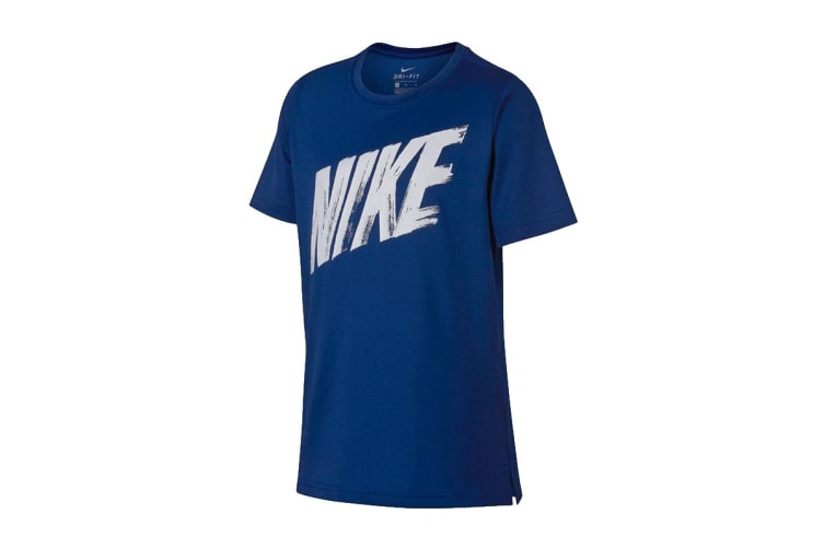 Nike Dri-FIT SS Boy's Training Top (Black/Athmosphere Grey, Size M)