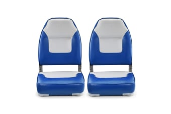 2 High Back Fishing Boat Seats Fold-Down Seat - Blue
