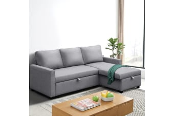 Sofa Bed Lounge Set 3 Seater Futon Couch Storage Chaise Corner Grey