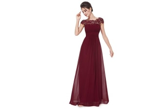Womens Cap Sleeve Lace Neckline Ruched Bust Evening Gown Wine Red Xl
