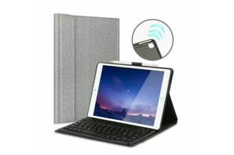 For iPad 10.2 7th Gen 2019 Wireless Bluetooth Keyboard With Leather Cover Case-Grey