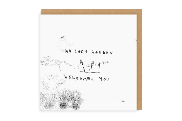 Ohh Deer Lady Garden Square Greetings Card (Black/White) (One Size)