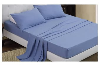 4 Piece Bed Sheet Set,Flat,Fitted,Pillowcases SAPPHIRE King