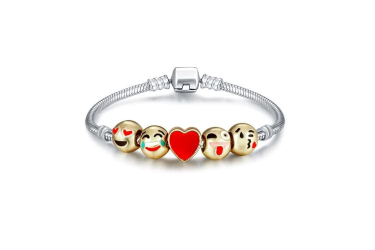 Emoji Charm Silver Bracelet 18K Gold Plated 5 Beads Cute Novelty Jewellery Gift
