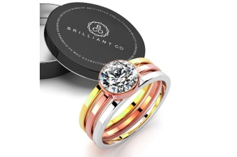 Britney Tri-Tone Stackable Ring|Tri-Tone Gold/Clear Size US 8