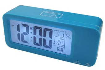 Portable Smart Lcd Alarm Clock Rechargeable Lithium Battery Date Temp Blue