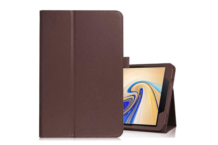 promo code f501e 2a5d5 For Samsung Galaxy Tab S4 10.5in Brown Lychee Texture Folio Leather Case  Stand
