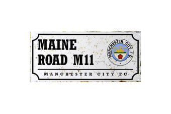 Manchester City FC Official Retro Football Crest Street Sign (Multicoloured)