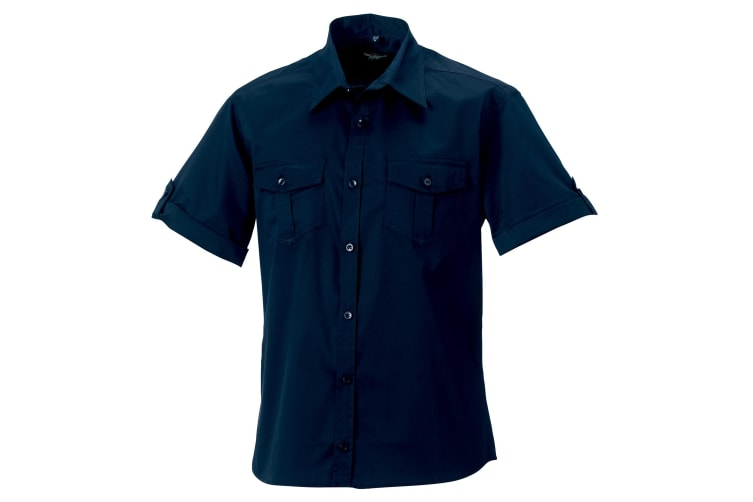 Russell Collection Mens Short / Roll-Sleeve Work Shirt (French Navy) (4XL)